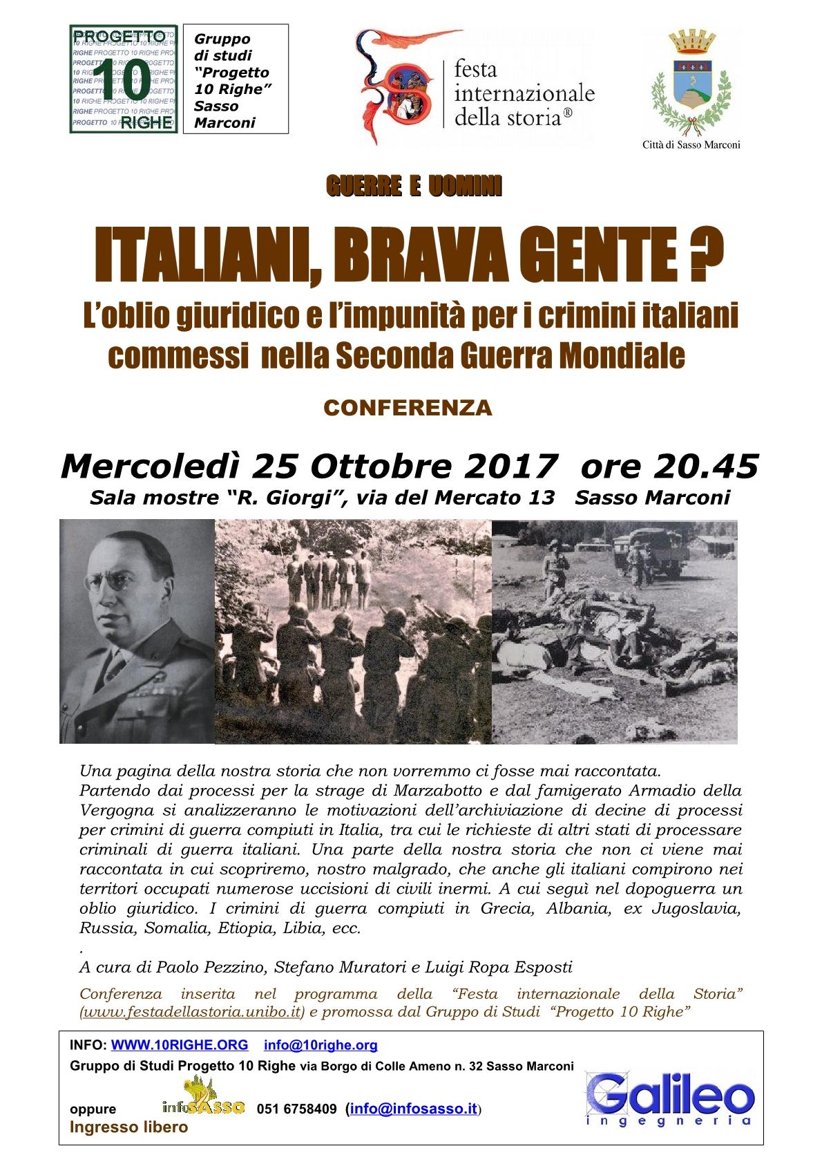 Conferenza -ITALIANI, BRAVA GENTE ?