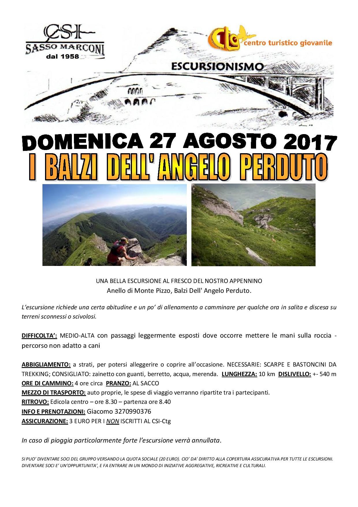 Escursioni - Anello di Monte Pizzo, Balzi Dell' Angelo Perduto.