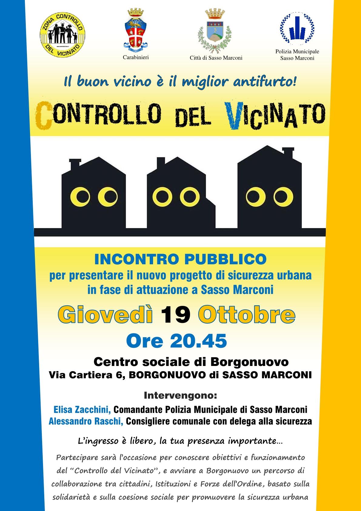 Controllo del Vicinato - Presentazione del nuovo progetto di sicurezza urbana a Sasso Marconi.