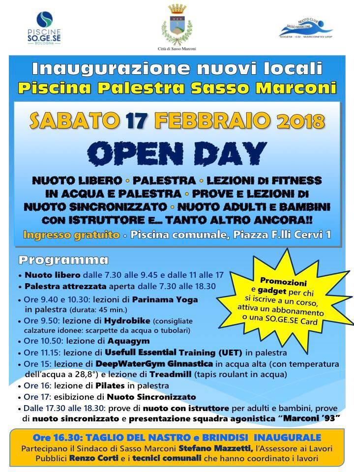 Inaugurazione nuovi locali alla Piscina Palestra Sasso Marconi
