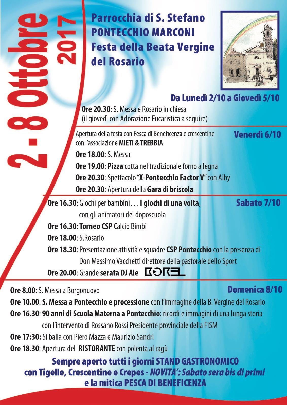 FESTA della BEATA VERGINE DEL ROSARIO c/o la parrocchia di S. Stefano di Pontecchio